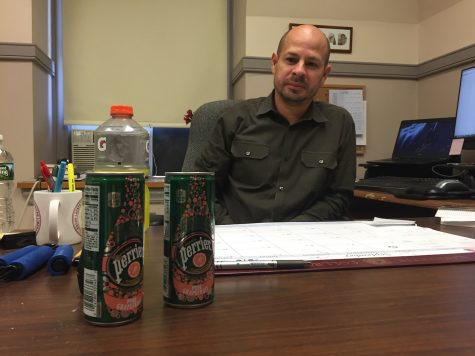 Professor Juan Rojo – on hunger strike and only consuming drinks – was given two drinks by President Alison Byerly, who signed off to deny him tenure. (Ian Morse 17)