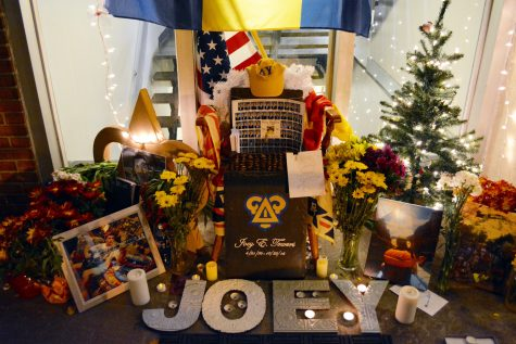 The memorial set up for Joey Towers 18 by the brothers of Delta Upsilon. (Courtney DeVita 19)