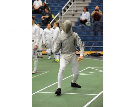 Senior fencer Alex Gorloff stands in position (Photo Courtesy of Athletic Communications)