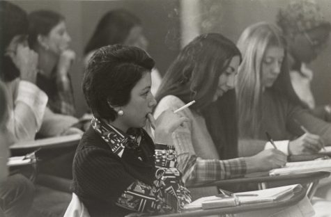 Lafayette students in class during early years of coeducation.  Photo Courtesy of Diane Shaw