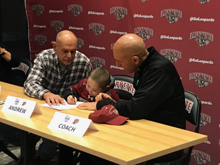 Andrew+Hummell+joins+the+mens+soccer+teams+recruiting+class+of+2023+at+his+official+signing+on+Monday.+%28Photo+by+Andrew+Hollander+21%29