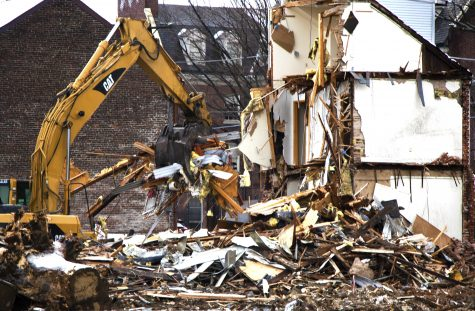 Demolition began this week on McCartney Street to make room for new student housing. (Photo by Jess Furtado 19)