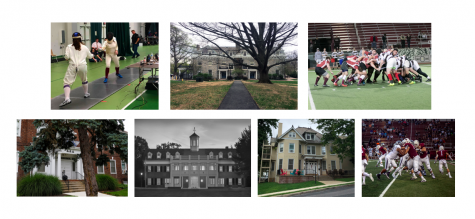 From top left to bottom right: the fencing team (Photo courtesy of assistant coach Zack Lee), Zeta Psi house (Photo by Lauren Fox), the mens rugby team (Photo by Hana Isihara 17), Tri Delta house (Photo by Elle Cox 21), Delta Kappa Epsilon House (Photo courtesy of Chuck Zovko), Delta Gamma house (Photo by Rachel Bram 20), and the football team (Photo by Elle Cox 21).