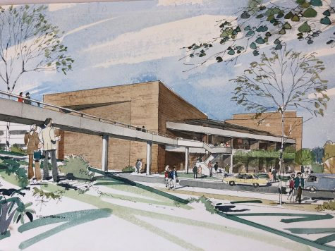 The proposed exterior of the Williams Center for the Arts in 1977. (Photo courtesy of F. Schonbach)
