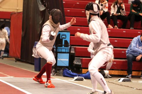 The fencing team earned eighth place at the Mid-Atlantic Collegiate Fencing Association (MACFA) Championship last Saturday. (Photo courtesy of Athletic Communications)