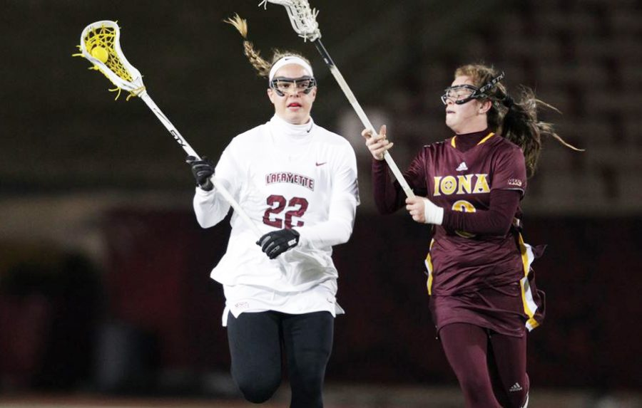 Freshman+midfielder+Caroline+Curnal+%2822%29+scored+a+hat+trick+in+the+victory+over+Binghamton.+%28Photo+courtesy+of+Athletic+Communications%29