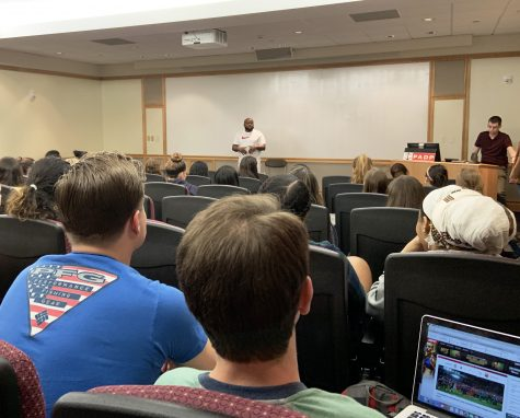 Jimmy Dennis spoke Tuesday night on the importance of abolishing the death penalty. (Photo by Katie Frost 22)