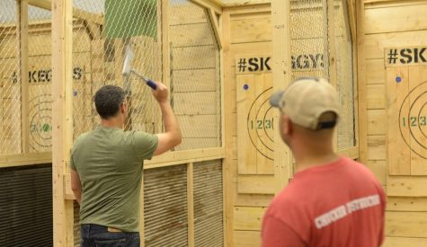 Instructors help guide customers who are new  to axe throwing. (Photo courtesy of Ryan Savage)