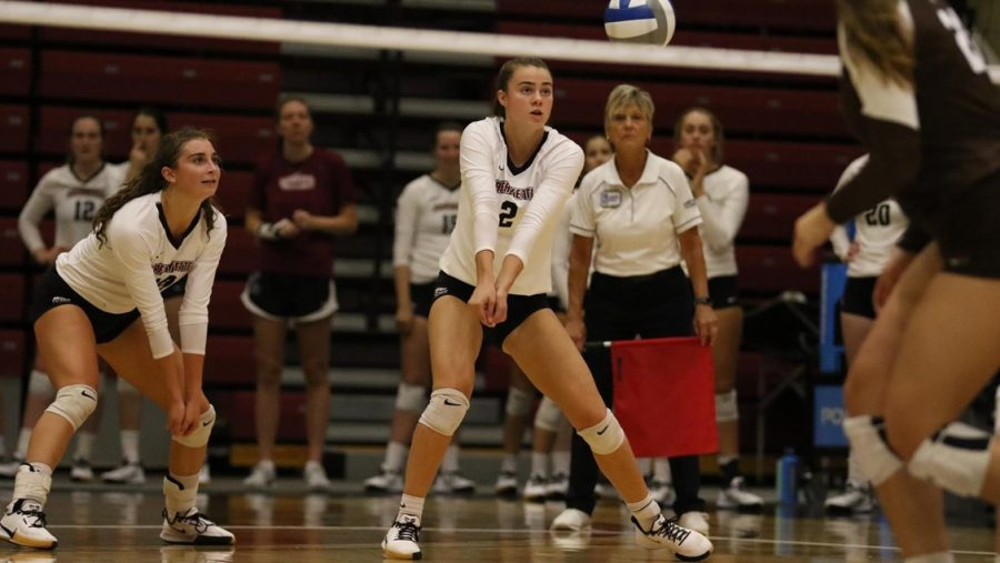 Freshman+outside+hitter+Ellie+Carrera-Justiz+%282%29+led+the+team+in+kills+against+Bucknell+with+13.+%28Photo+courtesy+of+Athletic+Communications%29