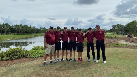 Senior Will Halamandaris (third to right) tied for first as golf tied for fifth overall. (Photo courtesy of Athletic Communications)
