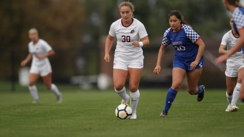 Krista Kissell, Caitlin Balmer and Sophie Saldivar each made All-Patriot League teams. (Photo courtesy of Athletic Communications)