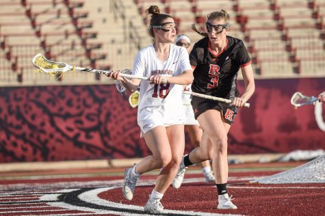 Sophomore attacker Olivia Cunningham (18) scored a hat trick against Delaware State. (Photo courtesy of Athletic Communication)