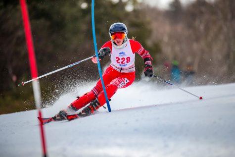 Sophomore Caroline Burns placed second in the womens alpine giant slalom. (Photo courtesy of Lafayette Ski Team)