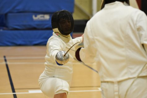 Sophomore foil Yiwen Cui won once during pool play. (Photo courtesy of Athletic Communications)