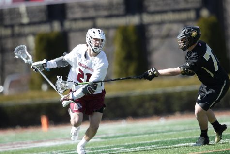 Mens lacrosse scored just one goal in the first half in their loss to Army. (Photo courtesy of Athletic Communications)
