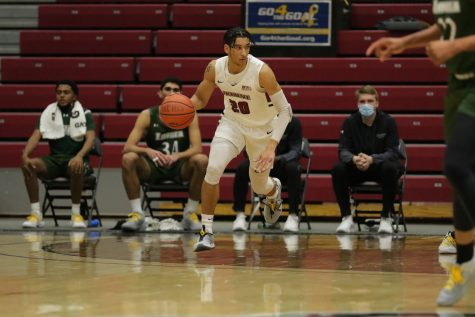 Senior guard E.J. Stephens hopes to earn a spot on the First Team All-Patriot League at the end of the season. (Photo courtesy of Athletic Communications)