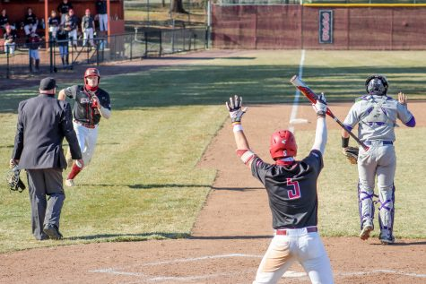 Sophomore outfielder Pete Ciuffreda (left) had a hit in each of the games against Holy Cross. (Photo by Cole Jacobson 24)