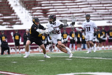 Freshman attacker Charlie Cunniffe recorded five goals and four assists across the two games. (Photo courtesy of Athletic Communications)
