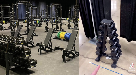 Pictured are the NCAA weight rooms for the men (left) and the women (right). (Photos courtesy of Sedona Prince TikTok)