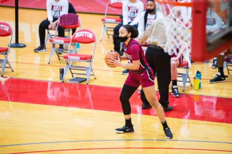 Sophomore guard Jess Booth scored eight points in the game against Boston University. (Photo courtesy of Athletic Communications)