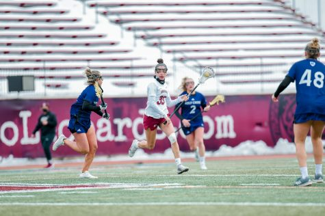Senior attacker Lizzie OBrien scored once in the loss to Holy Cross. (Photo courtesy of Athletic Communications)