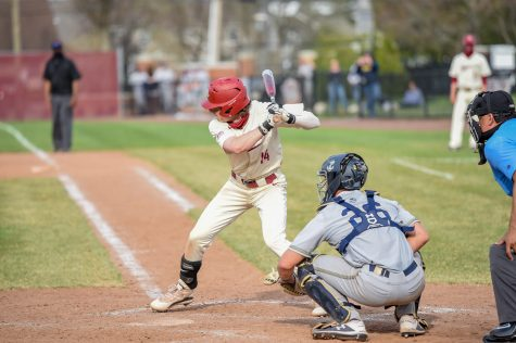 Junior catcher Zach Savage had three hits in the first win over Navy. (Photo courtesy of Athletic Communications)