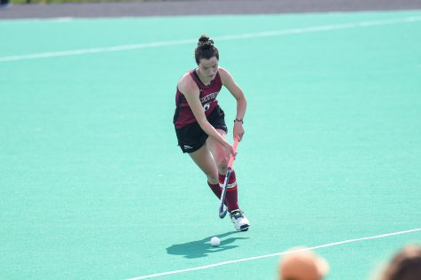 Senior field hockey star Audrey Sawers led the Patriot League in goals this spring. (Photo courtesy of Athletic Communications)
