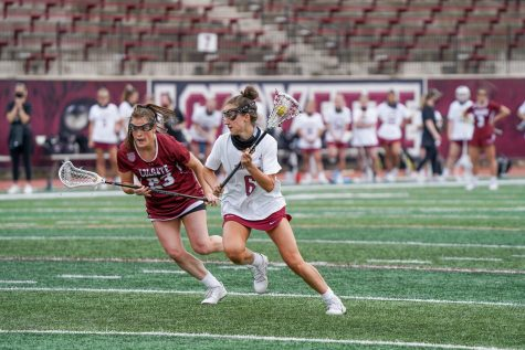 Senior attacker Anna Stein (6) scored twice in the loss to Lehigh. (Photo courtesy of Athletic Communications)