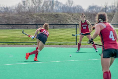 The womens field hockey team started practicing when there was still snow and ice on the field. (Photo by Cole Jacobson 24)