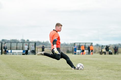 Sutton has started every single game in goal since arriving at Lafayette. (Photo courtesy of Athletic Communications)
