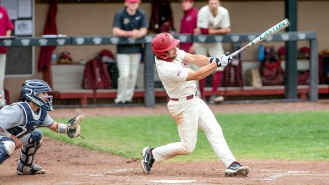 Senior infielder Ethan Stern had four hits in the weekend series. (Photo courtesy of Athletic Communications)