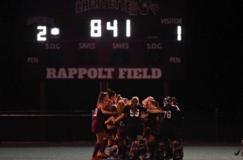 Lafayette Field Hockeys celebration after 2-1 overtime victory over Yale Friday, September 10th.  (Photo courtesy of golepards.com)