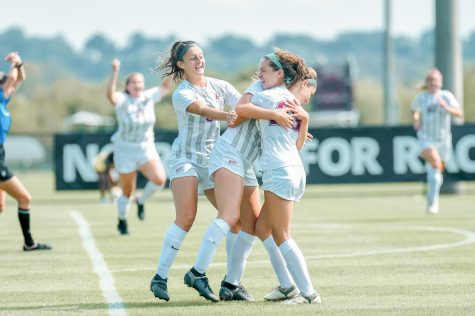 The women's soccer team wraps up out of conference play with their second win of the season against NJIT. (Photo courtesy of Athletic Communications)