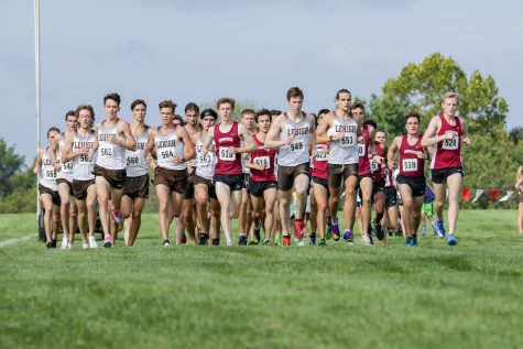 The Lafayette cross country teams continue to improve their times as they traveled to Lehigh University to take part in the Paul Short invitational. Photo from 9/18 dual meet against Lehigh University. (Photo courtesy of Athletic Communications)