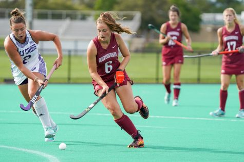 The Lafayette field hockey team returned on Saturday with a 4-1 victory over the Holy Cross Crusaders, with McAndrew leading in scoring with five goals. (Photo courtesy of Athletic Communications)