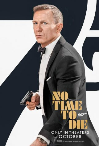 A post of No Time to Die where James Bond i standing in front of a large seven.