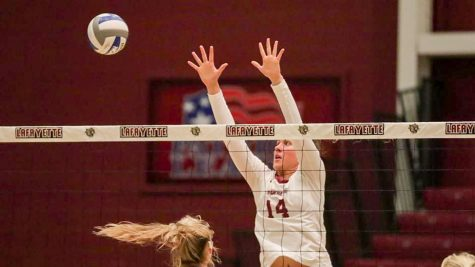 The Lafayette College volleyball team avenged their recent loss to Army, dominating in four sets on Saturday. This was their second consecutive Patriot League win and was highlighted by Deegan who downed the winning point. (Photo courtesy of GoLeopards.com)