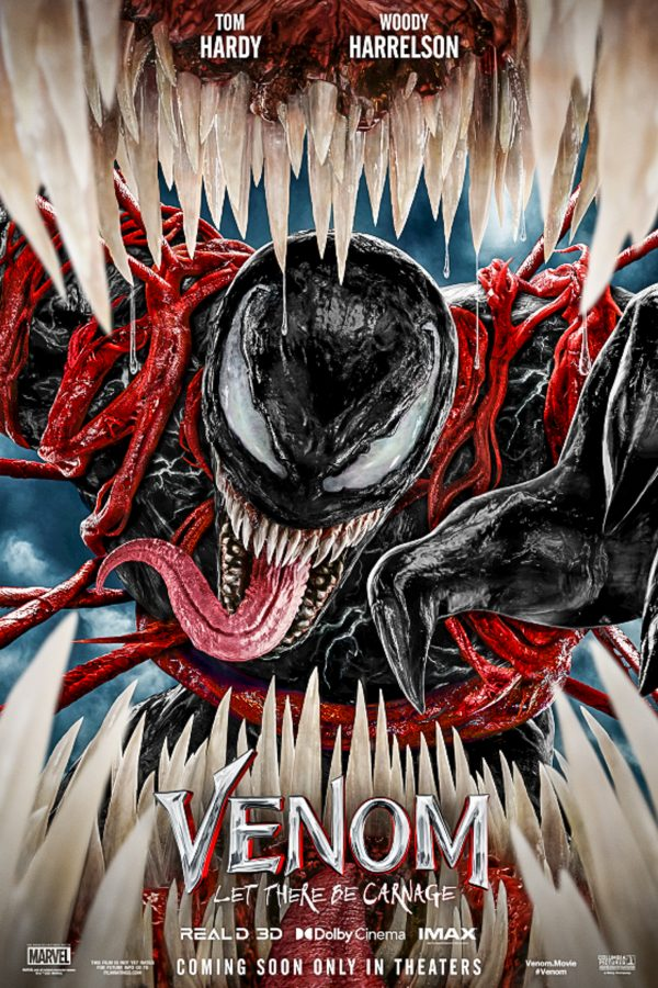 A poster of Venom: Let There Be Carnage where Venom is reaching through Carnages mouth while being held back by red restraints.