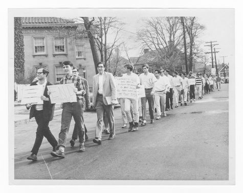 Lafayette students march against compulsory ROTC participation in the early 1960s. (Photo courtesy of Thomas Lannon)