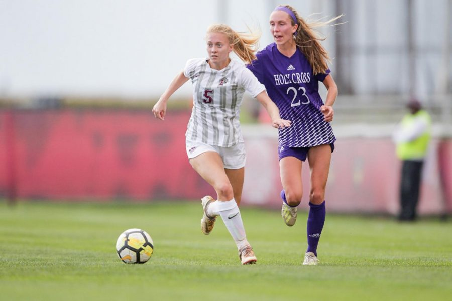 The Leopards womens soccer team dominated the contest against Holy Cross on Saturday, striking early and solidifying their defense to clench their second Patriot League win. (Photo Courtesy of GoLeopards.com)